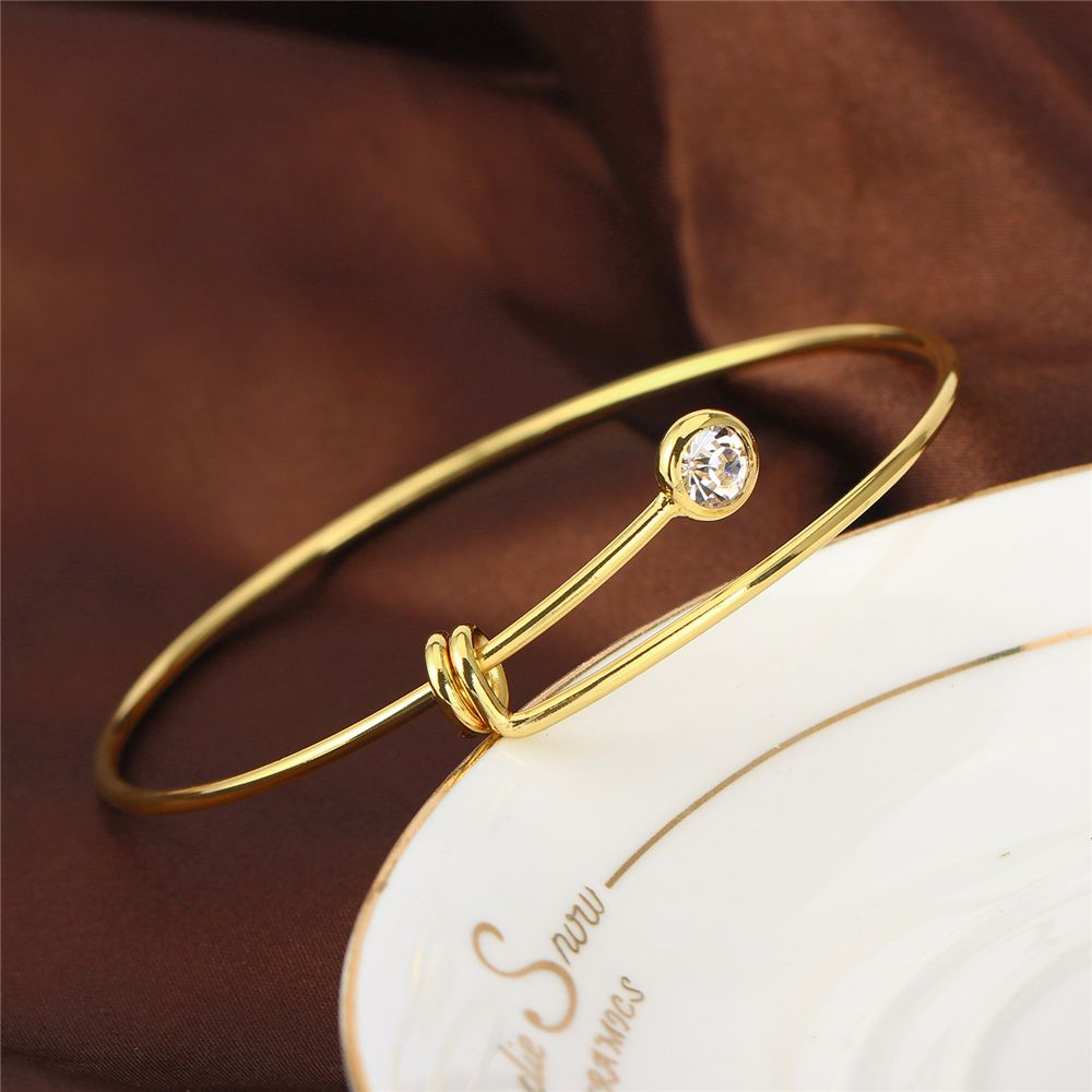 Simple Knot Cuff Bangles With Zircon Real Gold Plated Open Bangles ...