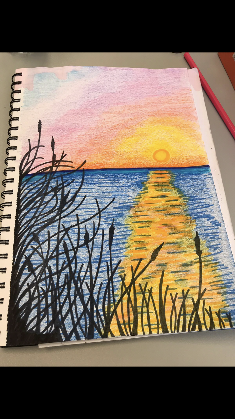 Sea Drawing With Markers And Colored Pencils Sunset Drawings