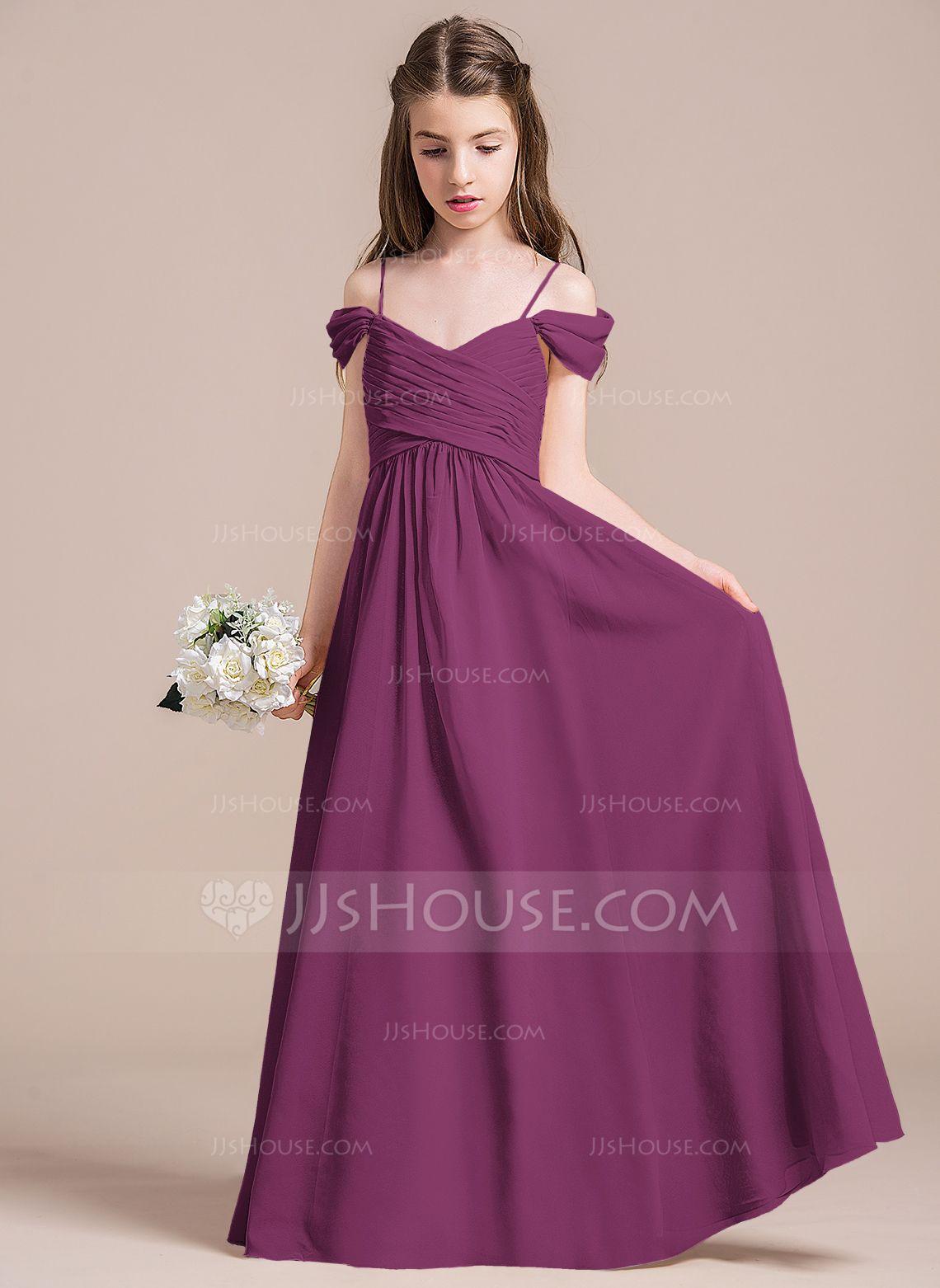 A-Line/Princess Off-the-Shoulder Floor-Length Chiffon Junior ...