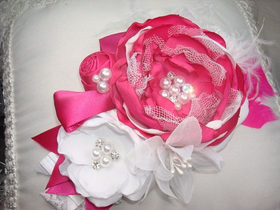 Baby Girl Pink Headbands Soft Elastic Bands//Heart Trim Ribbon//Pearl Cluster Bow
