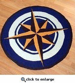 Nautical Compass Rose Rug   3u0027 Round