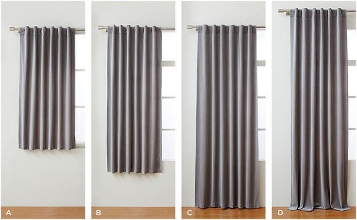 standard curtain lengths: apron, sill, floor length and puddle curtains. Click to see how to choose the right curtains for your space! #curtains #windowdrapes #interiordesign