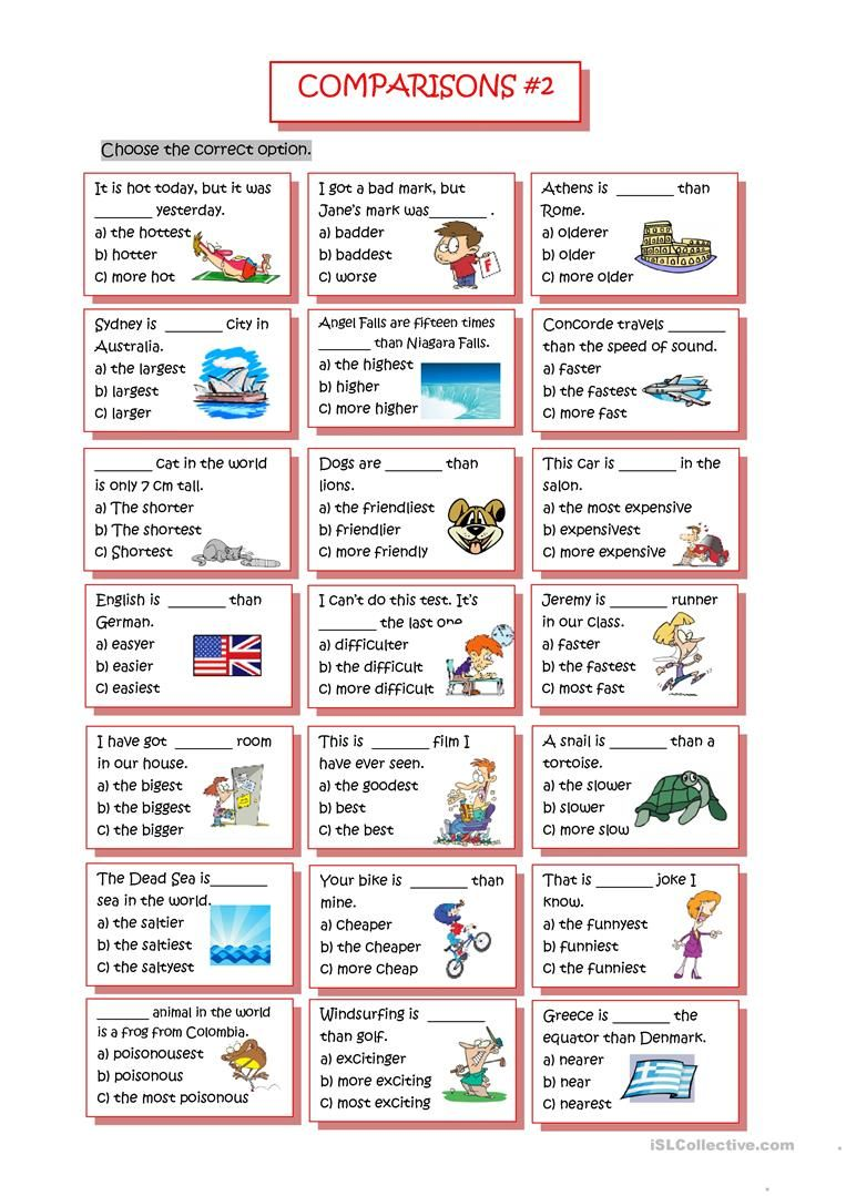 Comparisons #2 (Comparative/Superlative) | Для уроков | Pinterest ...