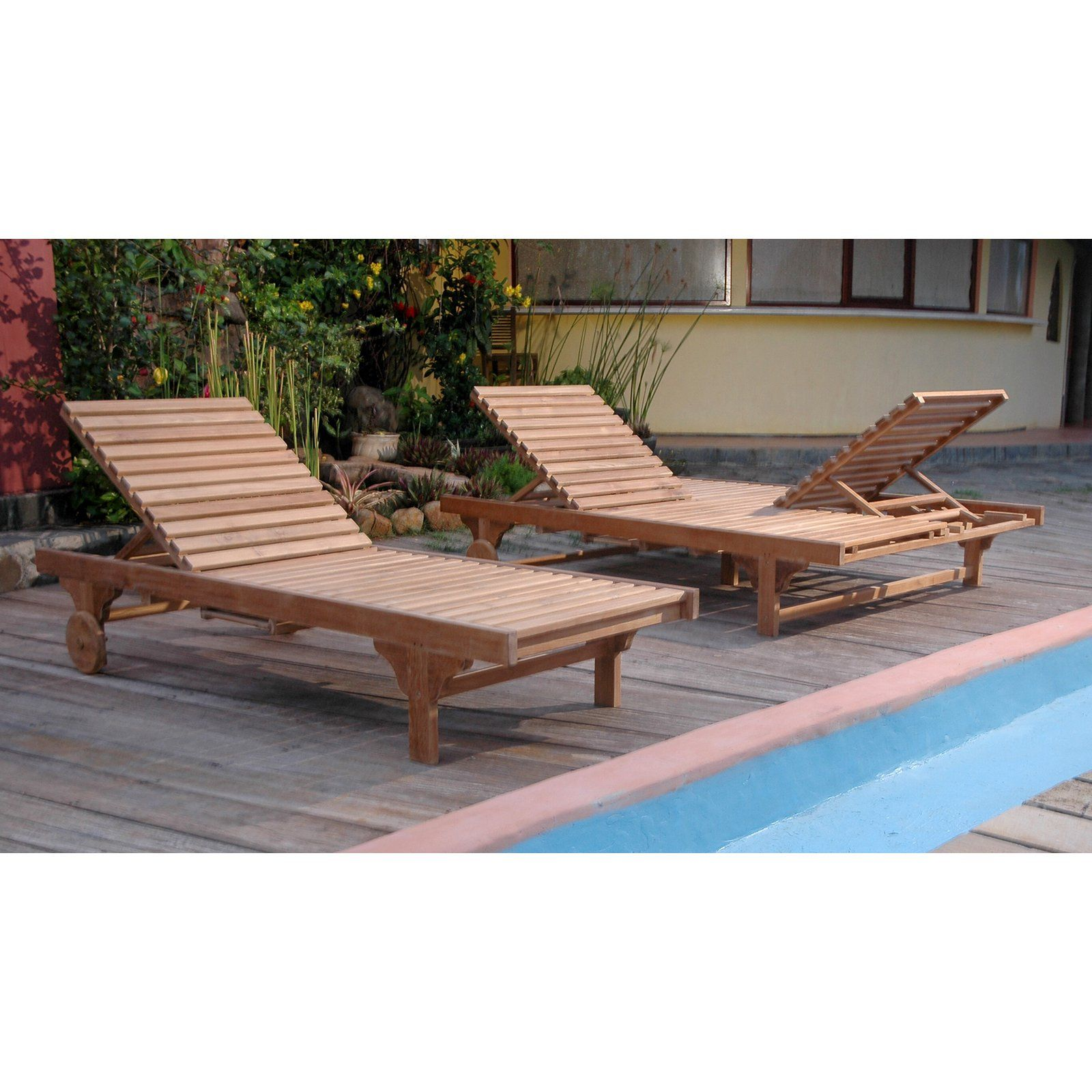 Outdoor Anderson Teak Capri Sun Chaise Lounge Chair with