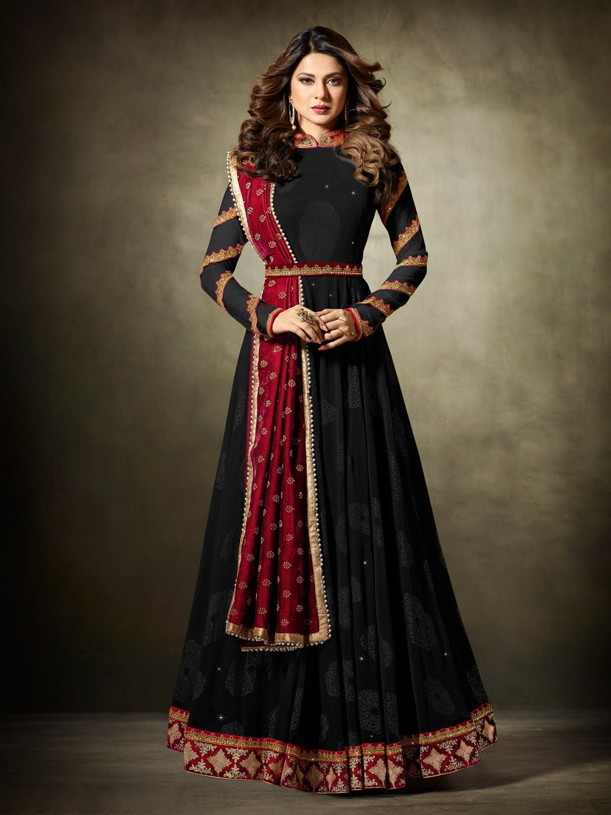 39462a4a5a Buy Bollywood Diva Jennifer Winget Style Black Partywear Anarkali Suit  Online at the Best Price from Inddus.