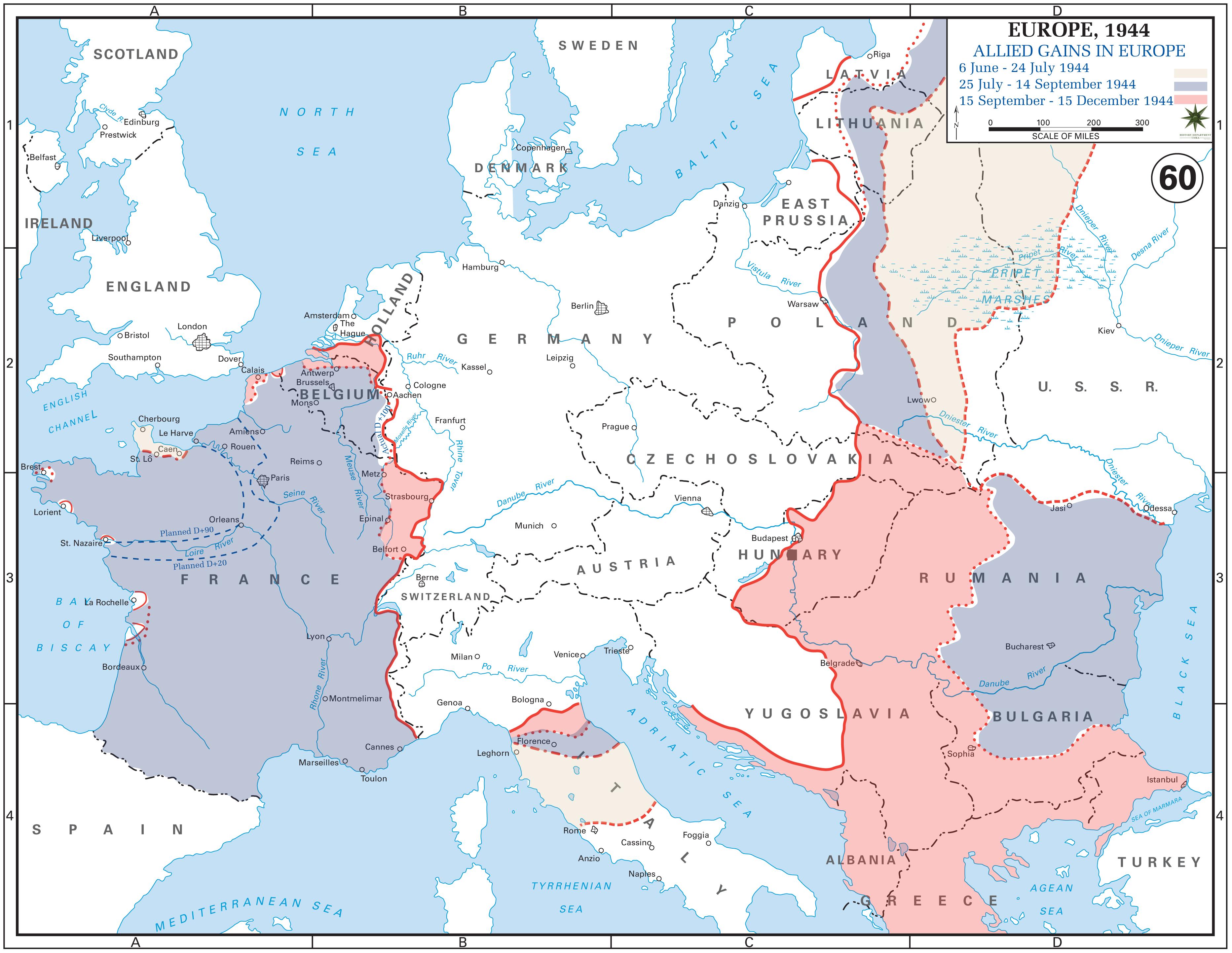 Allied Gains In Europe JuneDecember MAPS Pinterest - Third reich map 1944