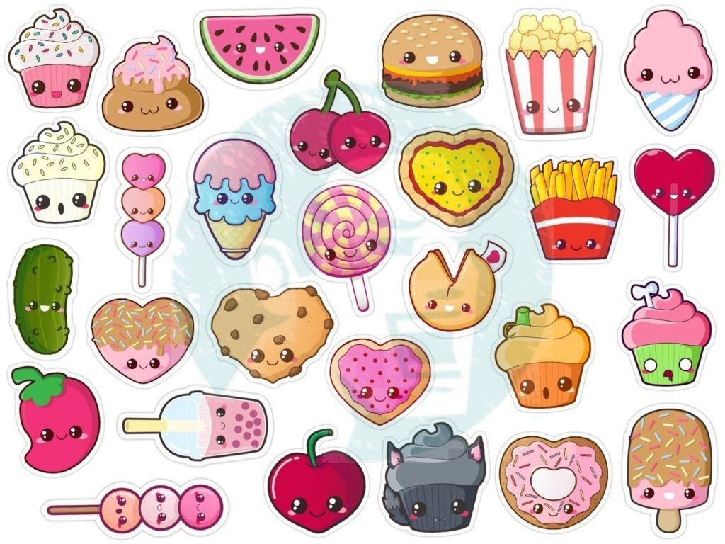 Cute Food Printable Stickers With Images Cute Drawings Kawaii