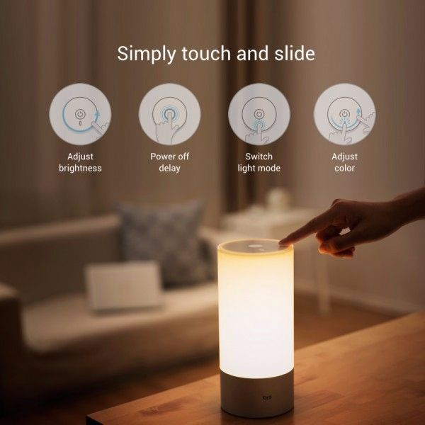 Original xiaomi yeelight bedside lamp rgb wireless touch control cool original xiaomi yeelight indoor night light dimmable bed lamp 16 million rgb touch control aloadofball Image collections
