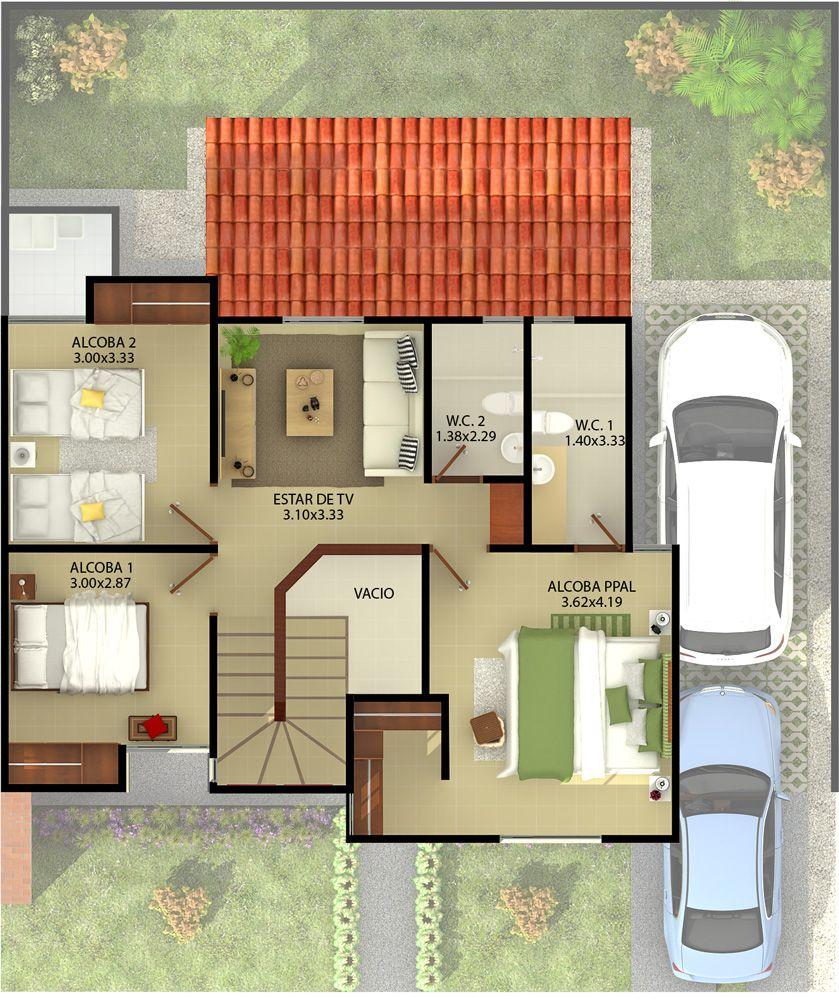 Casa tipo 2 terraza segundo piso planos pinterest for Terrazas 2do piso