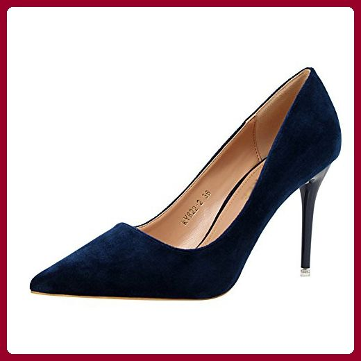 Aisun Damen Demin Suede Spitz Canvas Stiletto Pumps Dunkelblau 41 EU