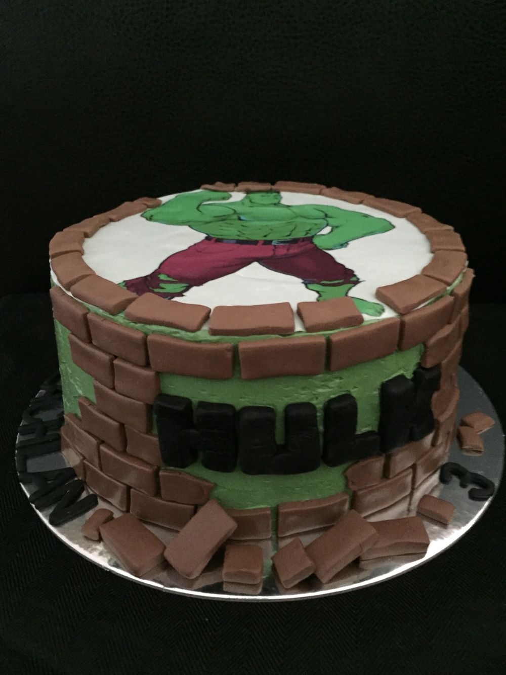 Incredible Hulk cake for a boys 3rd birthday Edible print