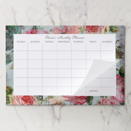 Vintage Floral Custom Desk Pad Monthly Calendar Zazzle Com Custom Desk Desk Pad Vintage Floral