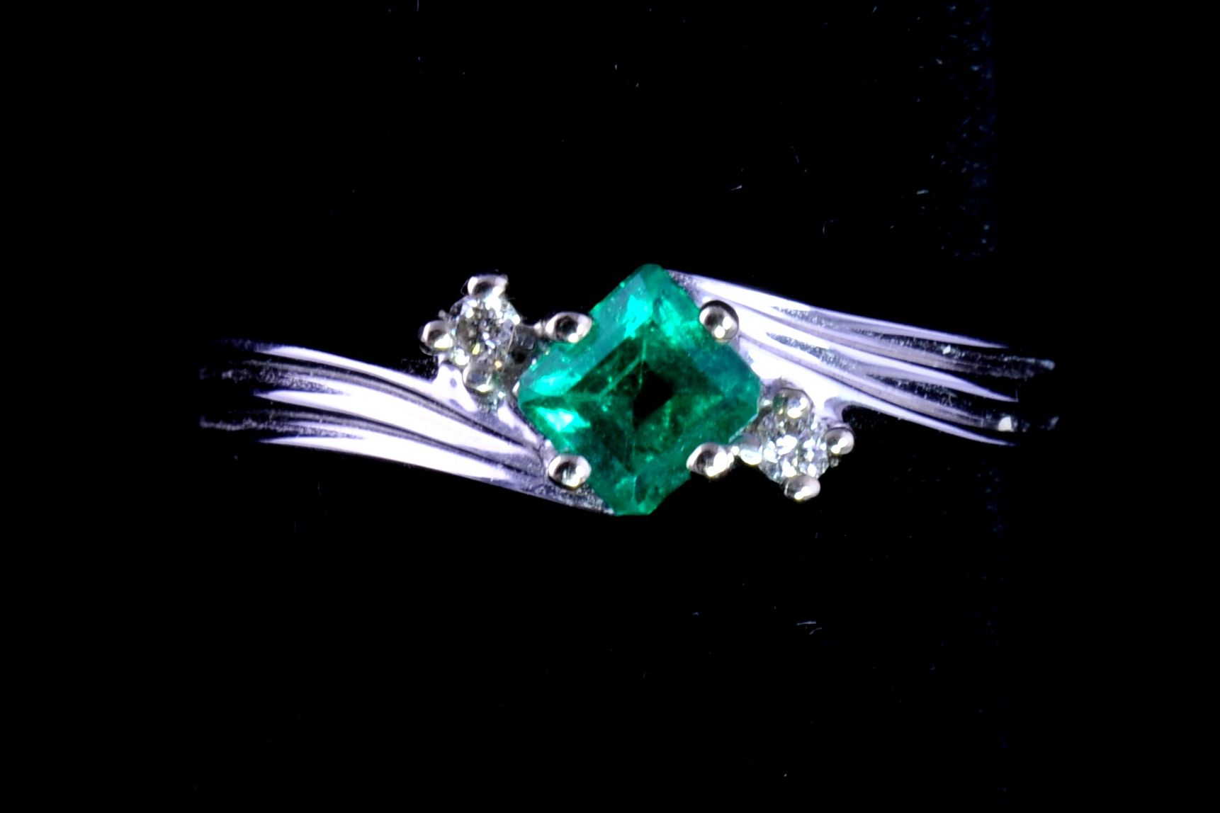 .39 ct. Fine Emerald, Clear and vibrant green color, .04 TW Diamonds, 14K White Gold  By James Rath
