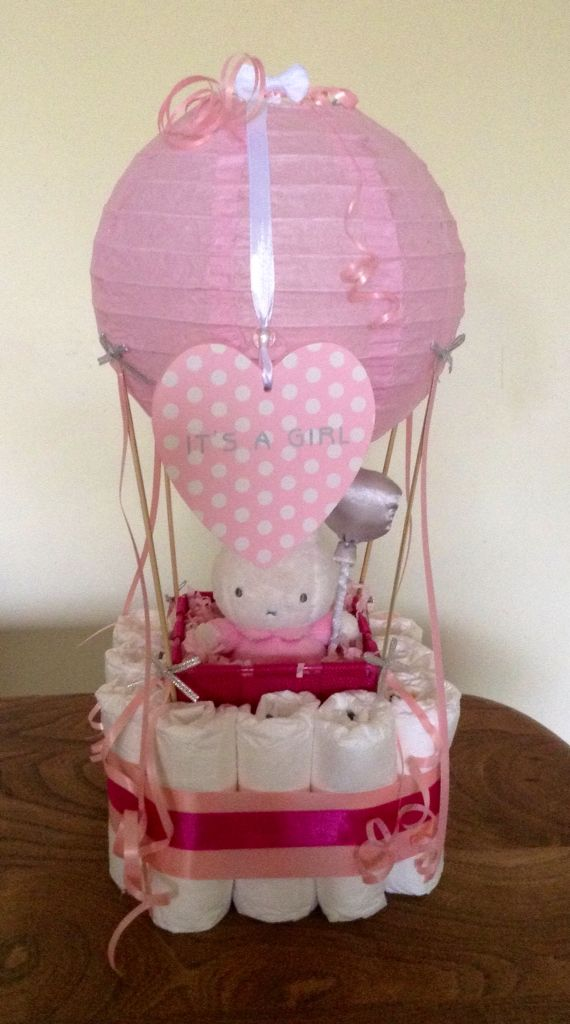 diaper hot air ballon cake baby girl geschenke pinterest geburt windelgeschenke und. Black Bedroom Furniture Sets. Home Design Ideas