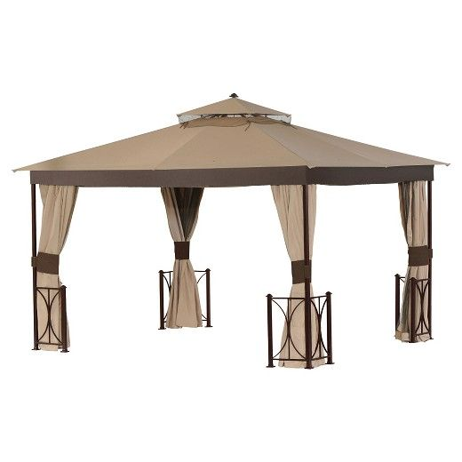 """Make so much more time for outdoor living with the Trina 144"""" x 120"""" Outdoor Gazebo that shields you from the rain, as well as over-exposure to the sun. What's more, the pull-back draped sides help keep unwanted wind at bay and also give you the privacy you want in your own backyard haven. Cloth material is UV and fade resistant and durable steel frame and corner units are resistant from rust. Measures 113.4"""" H x 144"""" L x 120"""" W that serves to t..."""