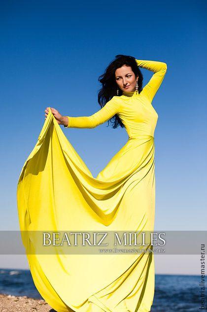 Платье с рукавами вырезом на спине желтое - жёлтый,летнее платье,длинное  вечернее платье c1f1d4af595