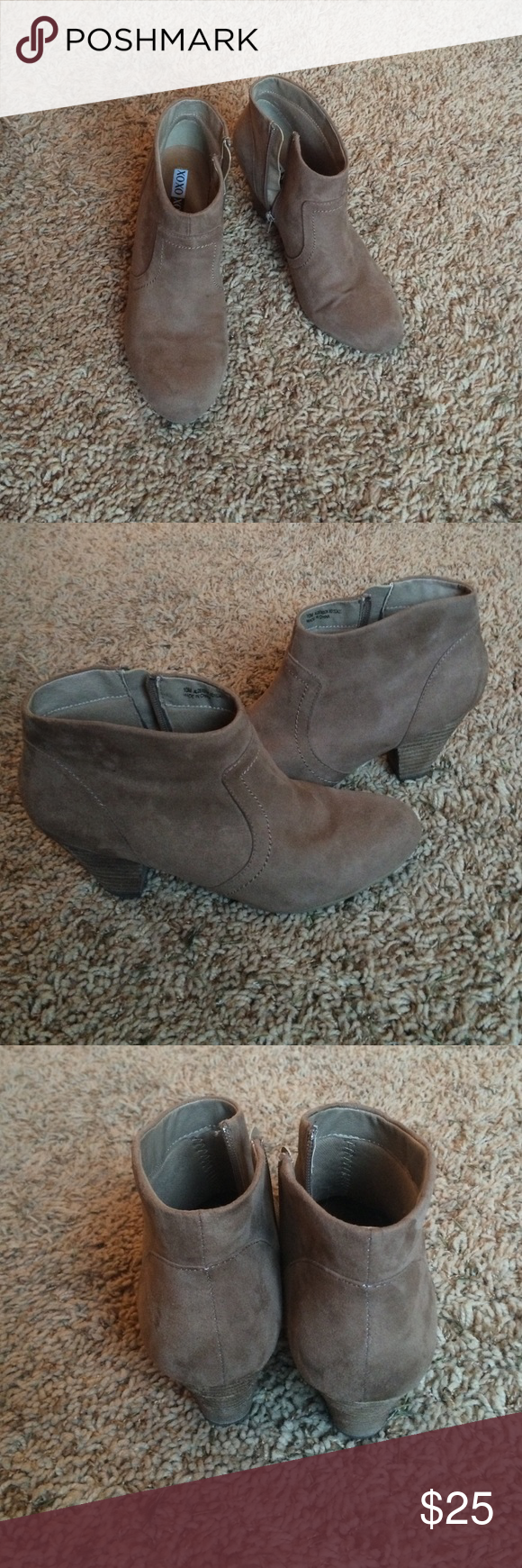 Xoxo Heeled Ankle Bootie Faux suede ankle boot 2 1/2 in. heel. Lightly worn, new. XOXO Shoes Heeled Boots