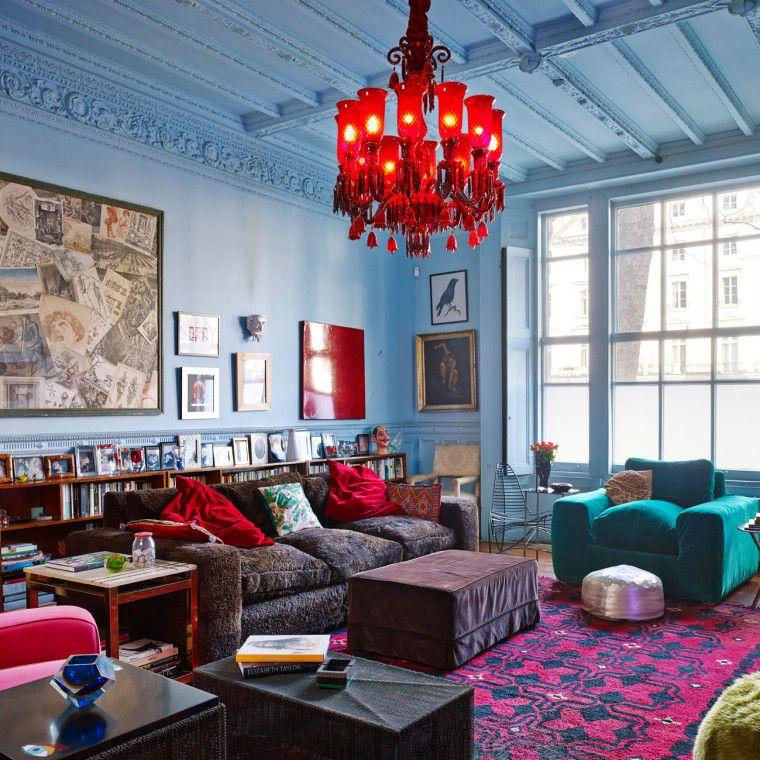 living room in blue%0A Solange AzaguryPartridge  Wild Bird  Designer Living RoomsRed