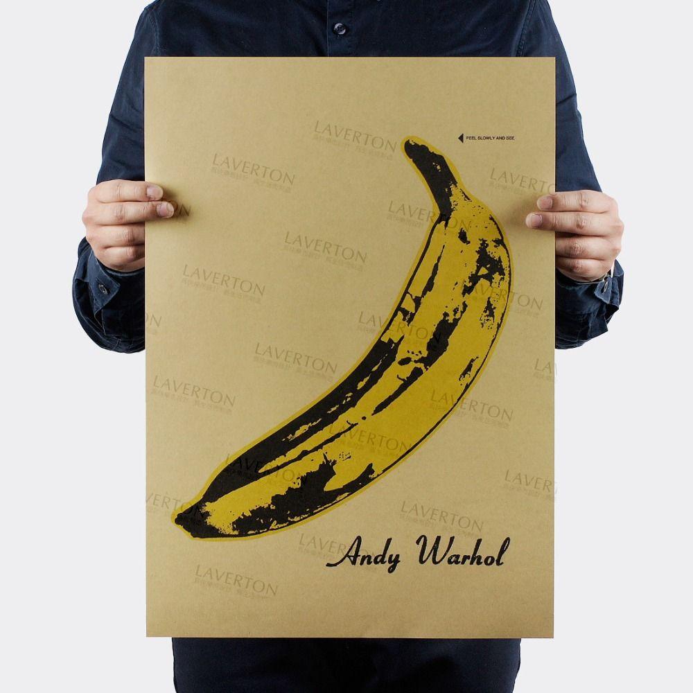 Free shipping,Andy Warhol BANANA/MUSIC ROCK BAND/kraft paper/bar ...
