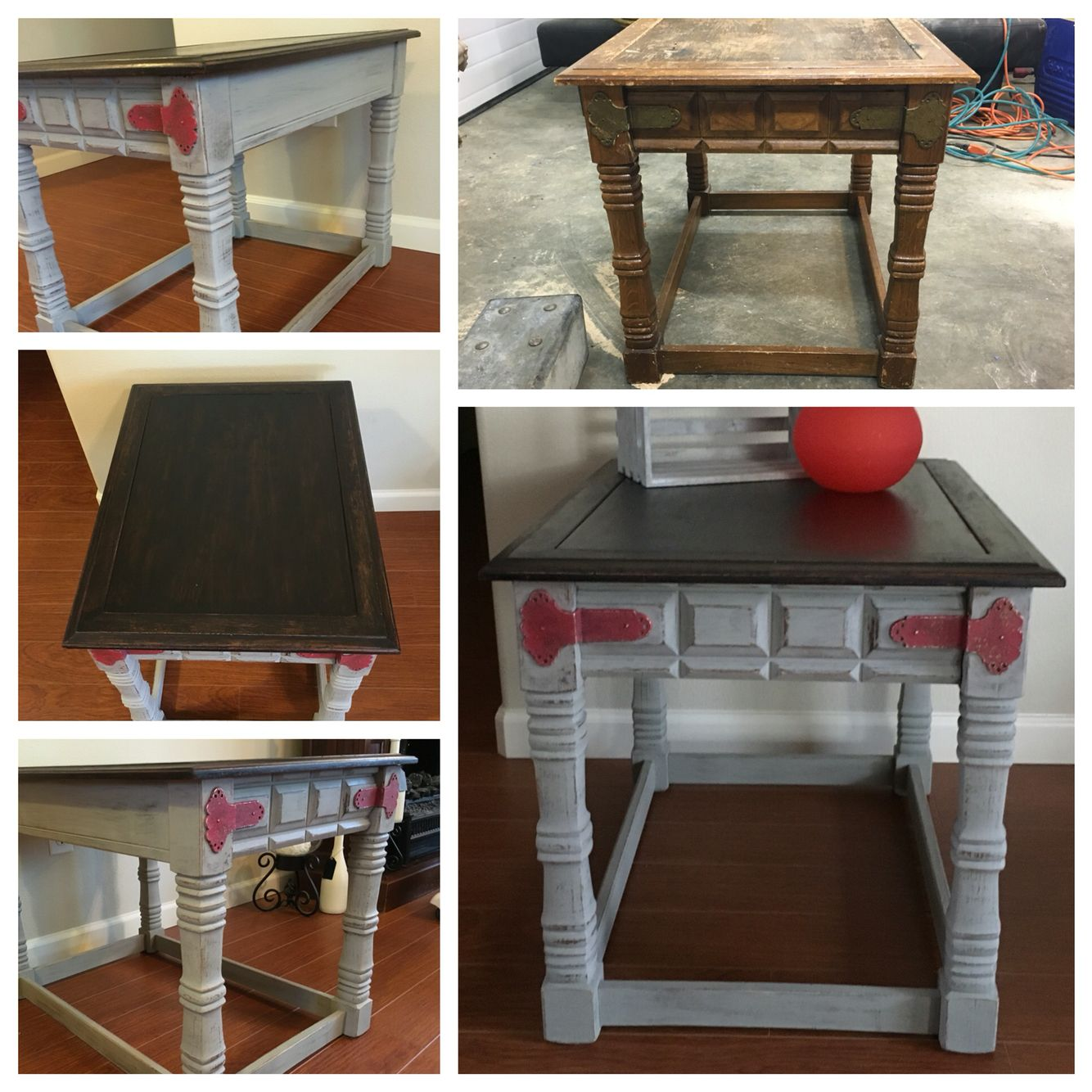 Night stand side coffee table chalk paint red gray stained wood night stand side coffee table chalk paint red gray stained wood top distressed metal geotapseo Images