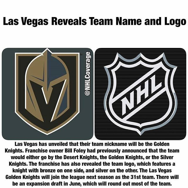 Officially Repost From Nhlcoverage The Team Will Be The Vegas Golden Knights Dropping T Vegas Golden Knights Lv Golden Knights Golden Knights