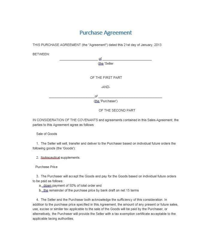 11 Purchase Agreement Templates Contract Template Purchase