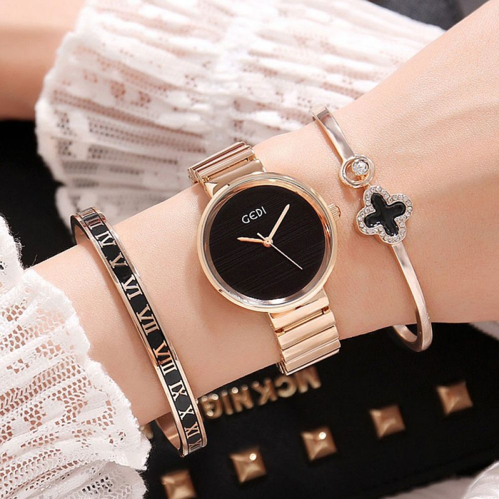 Famous Brand Women Watches 3 PCS Set Bangle Rose Gold Female