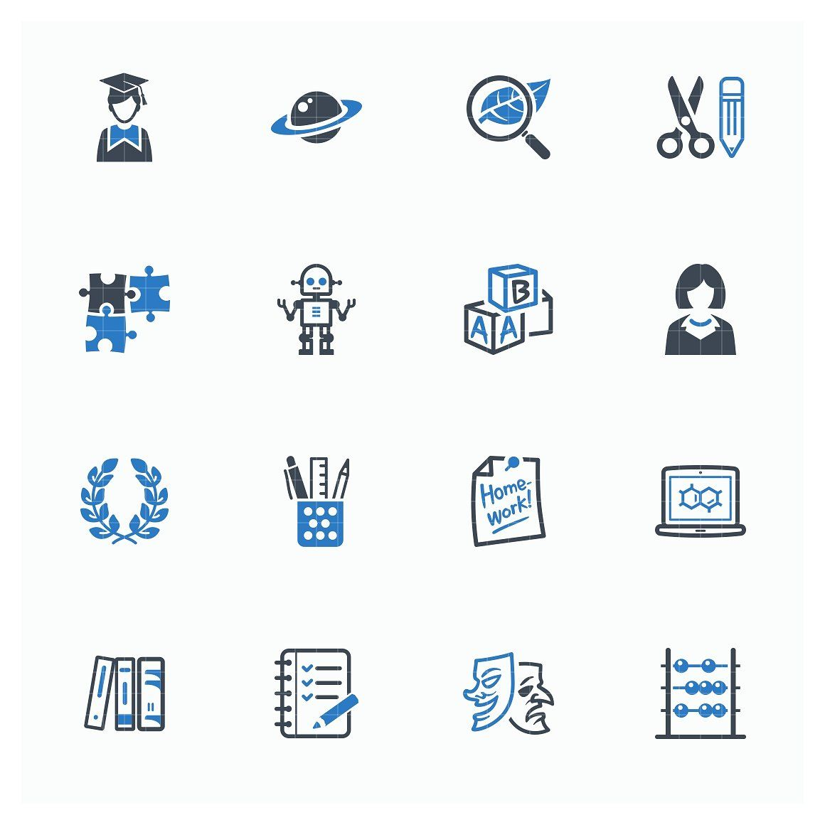 Education Icons Set 5 Blue Series Education Icon Education