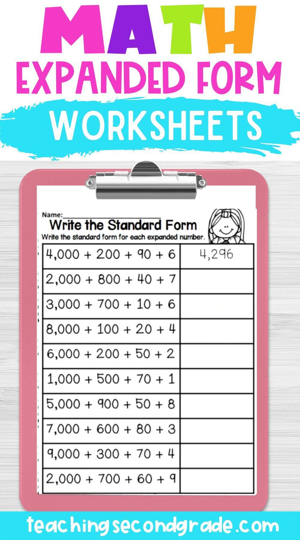 Expanded Form Math Worksheets Math Math Work Math Instruction