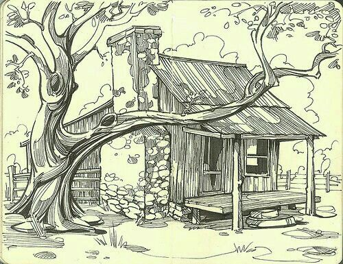 Swamp Shack With Stone Chimney With Images Drawings Art