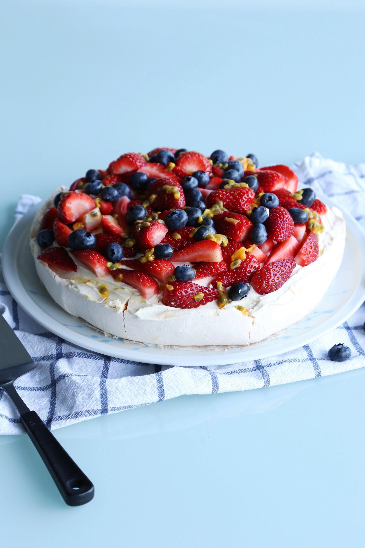 Vanilla Pavlova with Cream and Fresh Fruit Pavlova