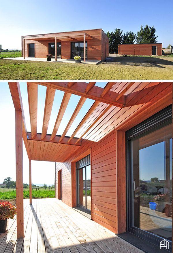 Maison ossature bois de 105 m² avec bardage mélèze de Sibérie ...