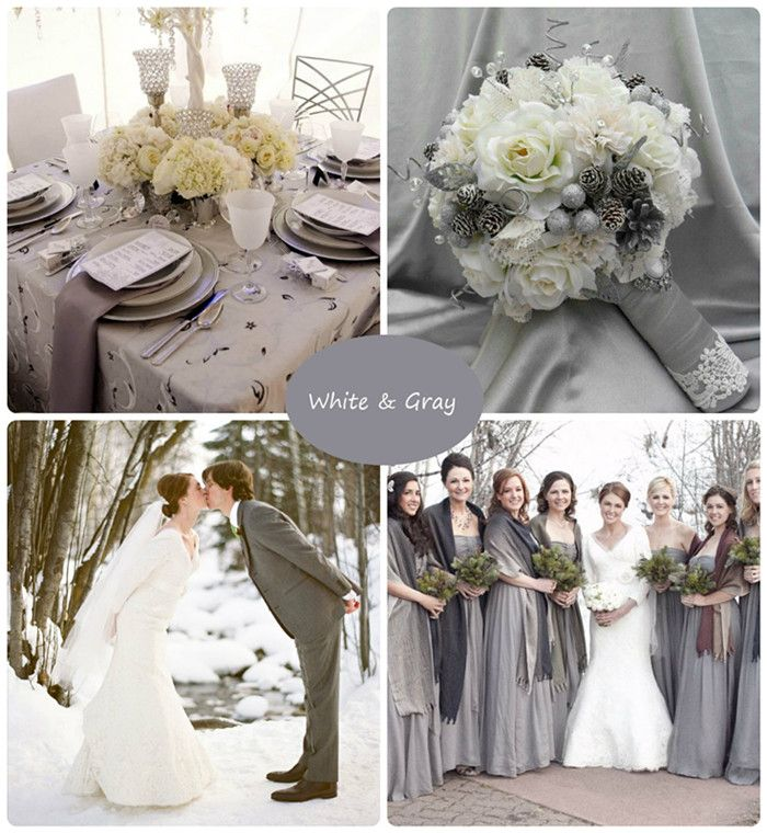 4 Of The Best White Winter Wedding Themes Wedding Ideas: Winter Wedding Gray And White Palette, I Would Love To Get