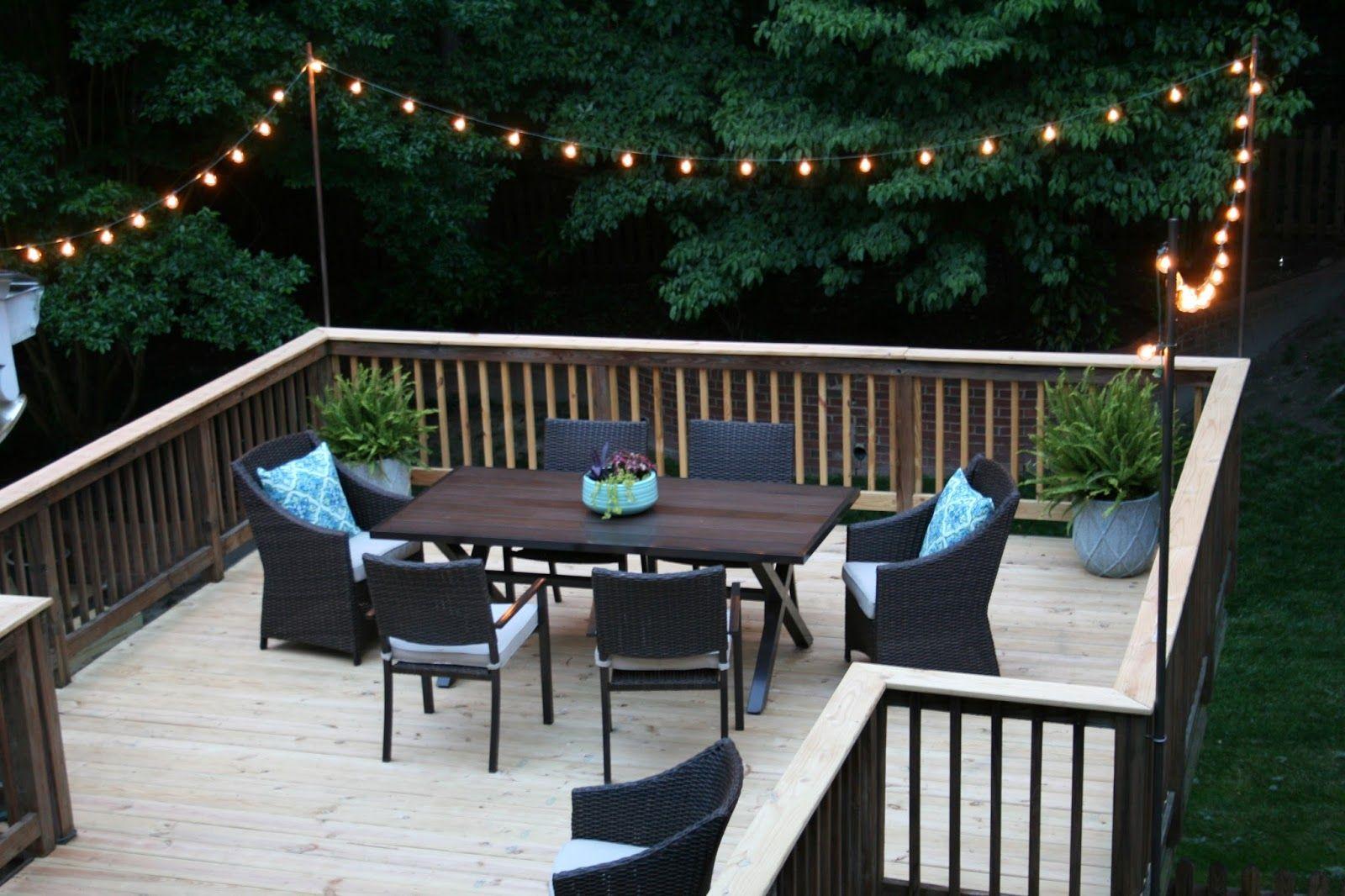 Image result for string lights on deck | Porches/Decks/Landscaping on