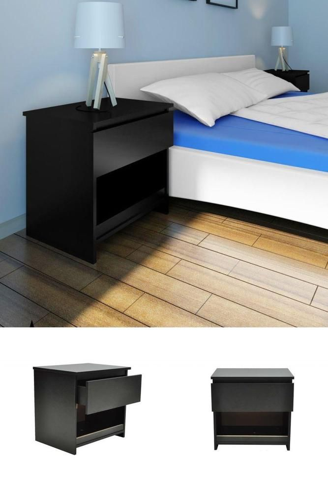 Amazing Black Wooden Nightstand Set 2 Pcs Modern Bedside Table Desk Drawer Storage  Unit