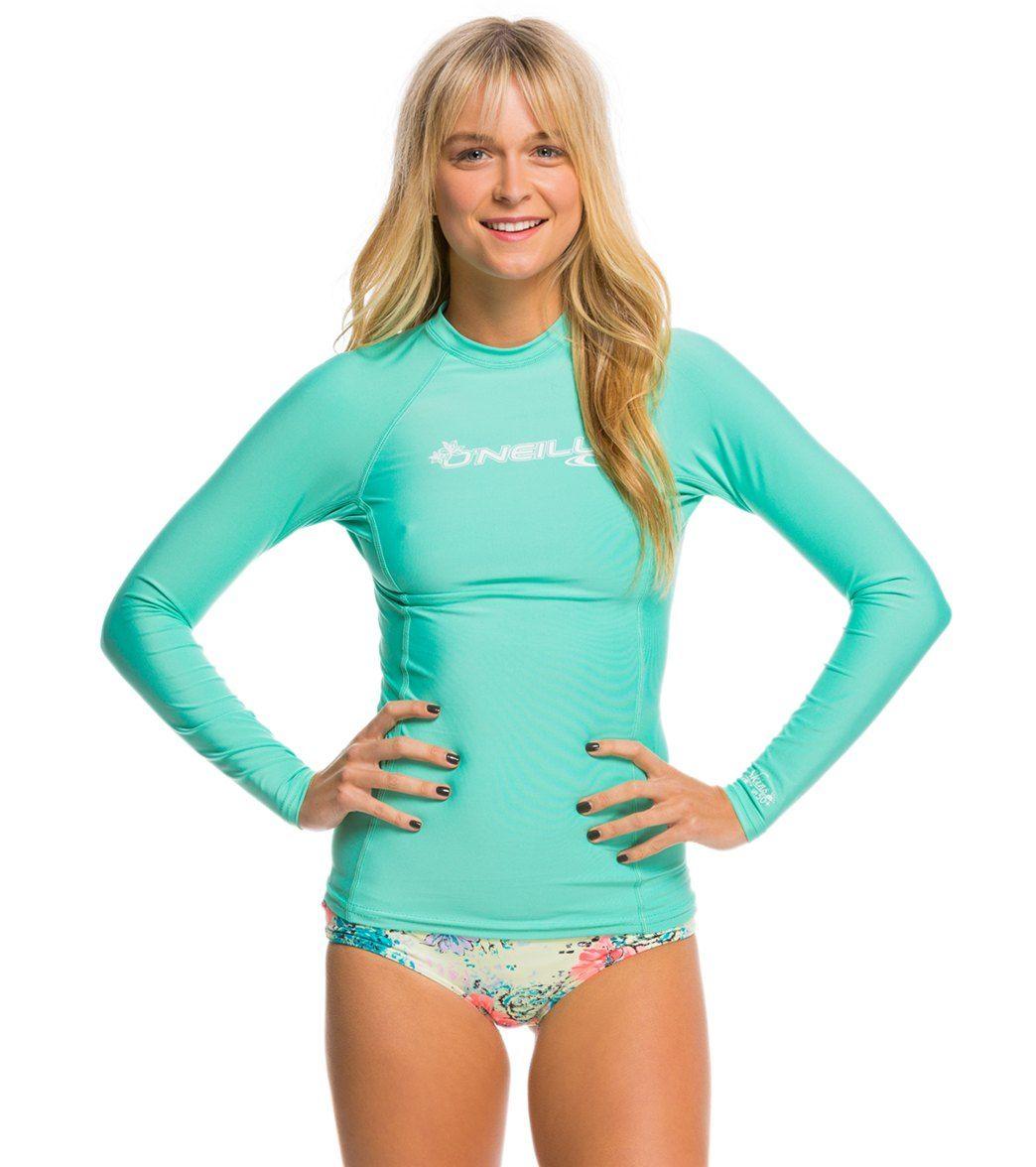0e69a4bd1f O Neill Women s Basic Skins Long Sleeve Crew Rashguard at SwimOutlet.com -  The Web s most popular swim shop