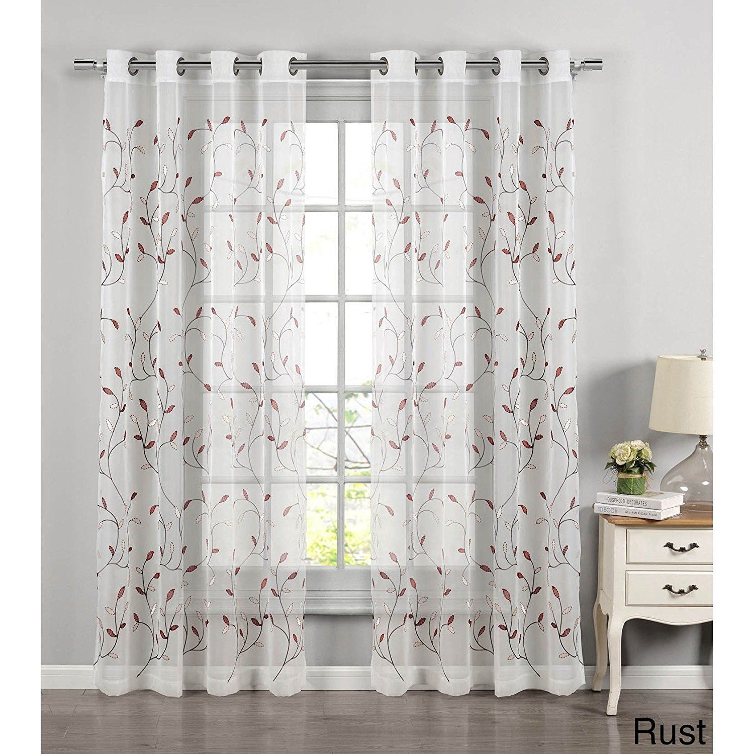 Girls Rust Embroidered Wavy Leaves Sheer Window Curtain 84 Inch