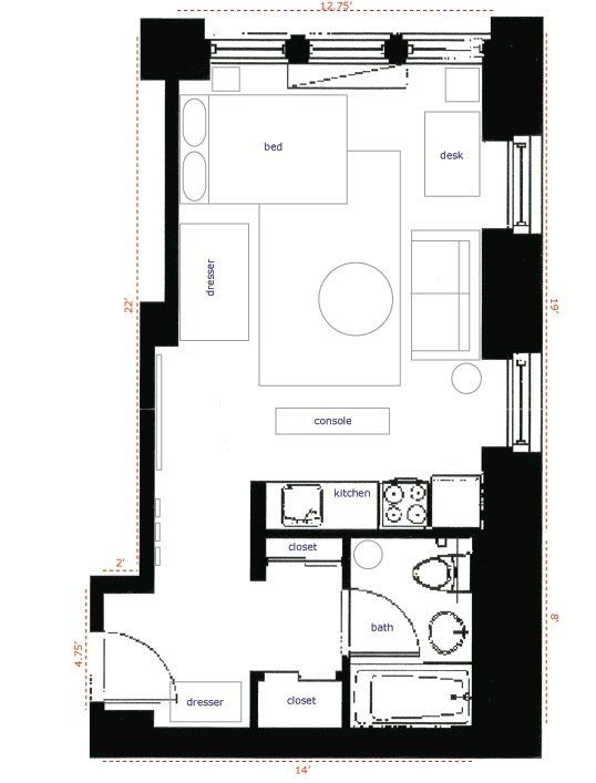 Nyc 350 Sqft Studio Apartment Layout Person Needs Very