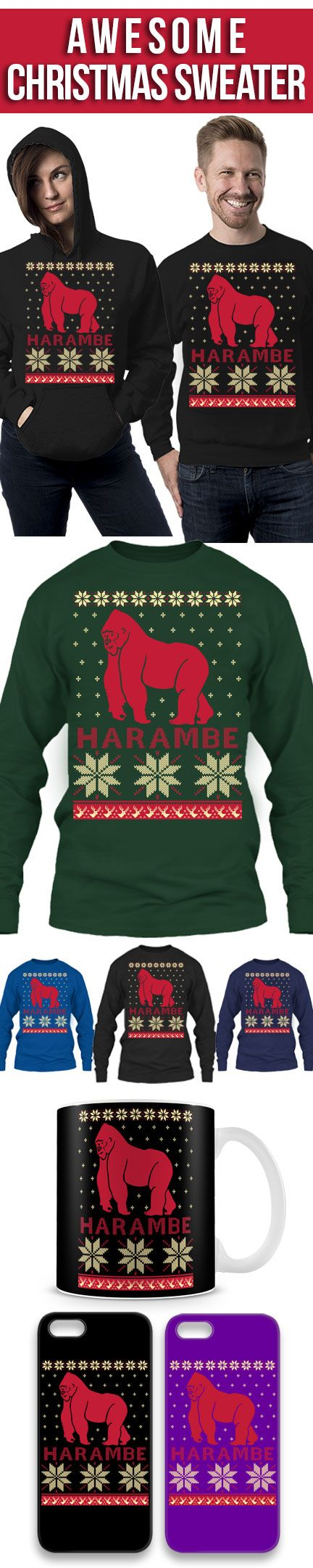 Harambe Ugly Christmas Sweater! Click The Image To Buy It Now or ...