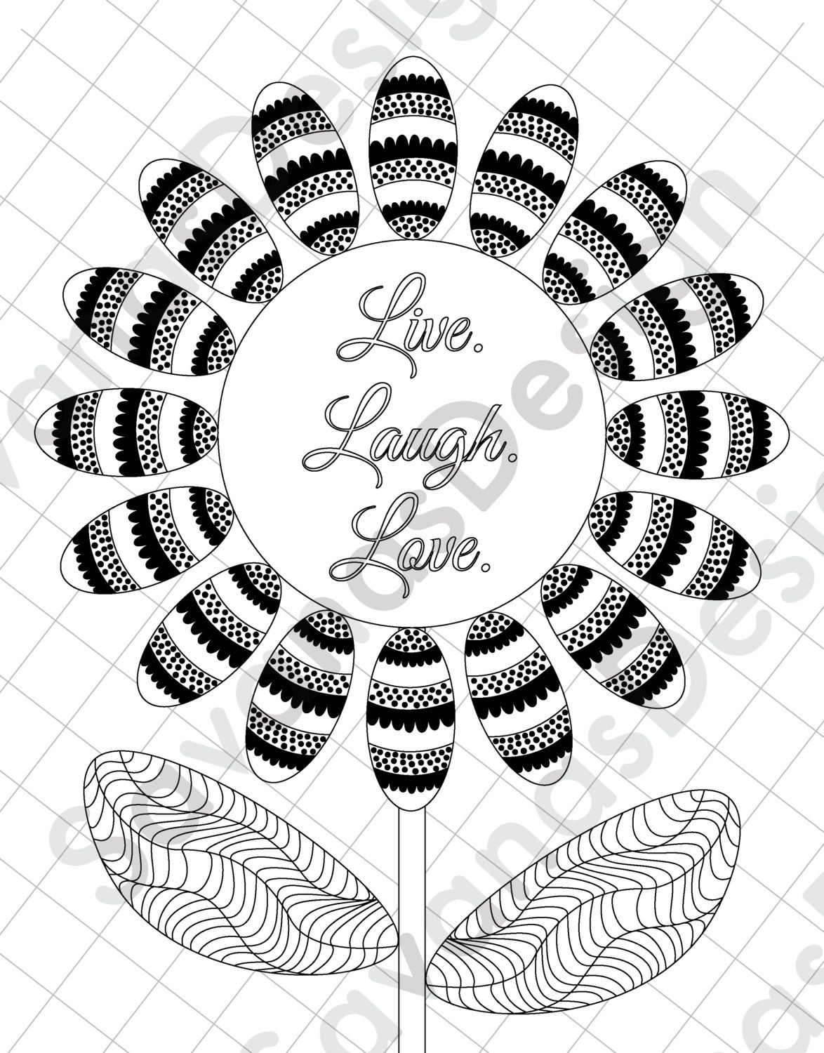 Sunflower Coloring Page, Love Coloring Page, Adult Printable ...