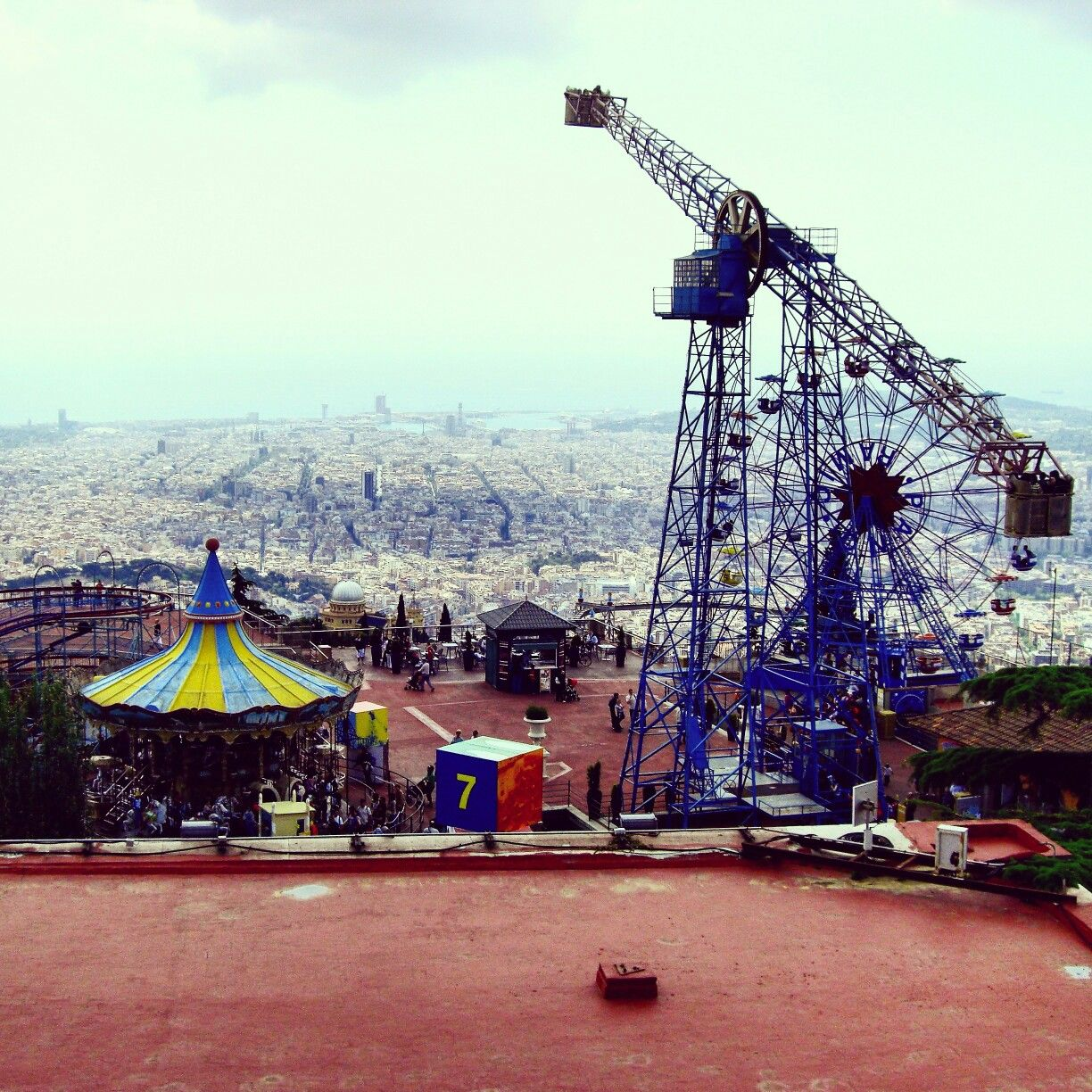 Panorama of Barcelona from Tibidabo mountain - Spain, Europe