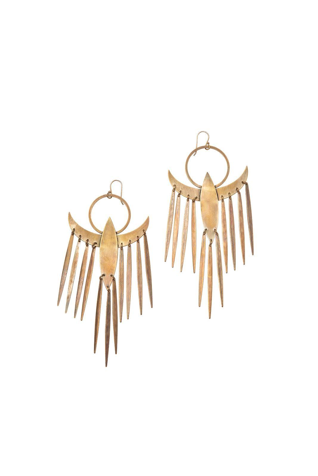 """Large 5.25"""" Flying bird earrings. Oxidized brass."""