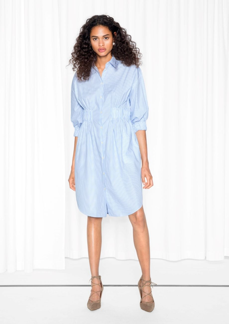 Other Stories Image 2 Of Striped Shirt Dress In Blue Light Striped Shirt Dress Casual Dress Dresses