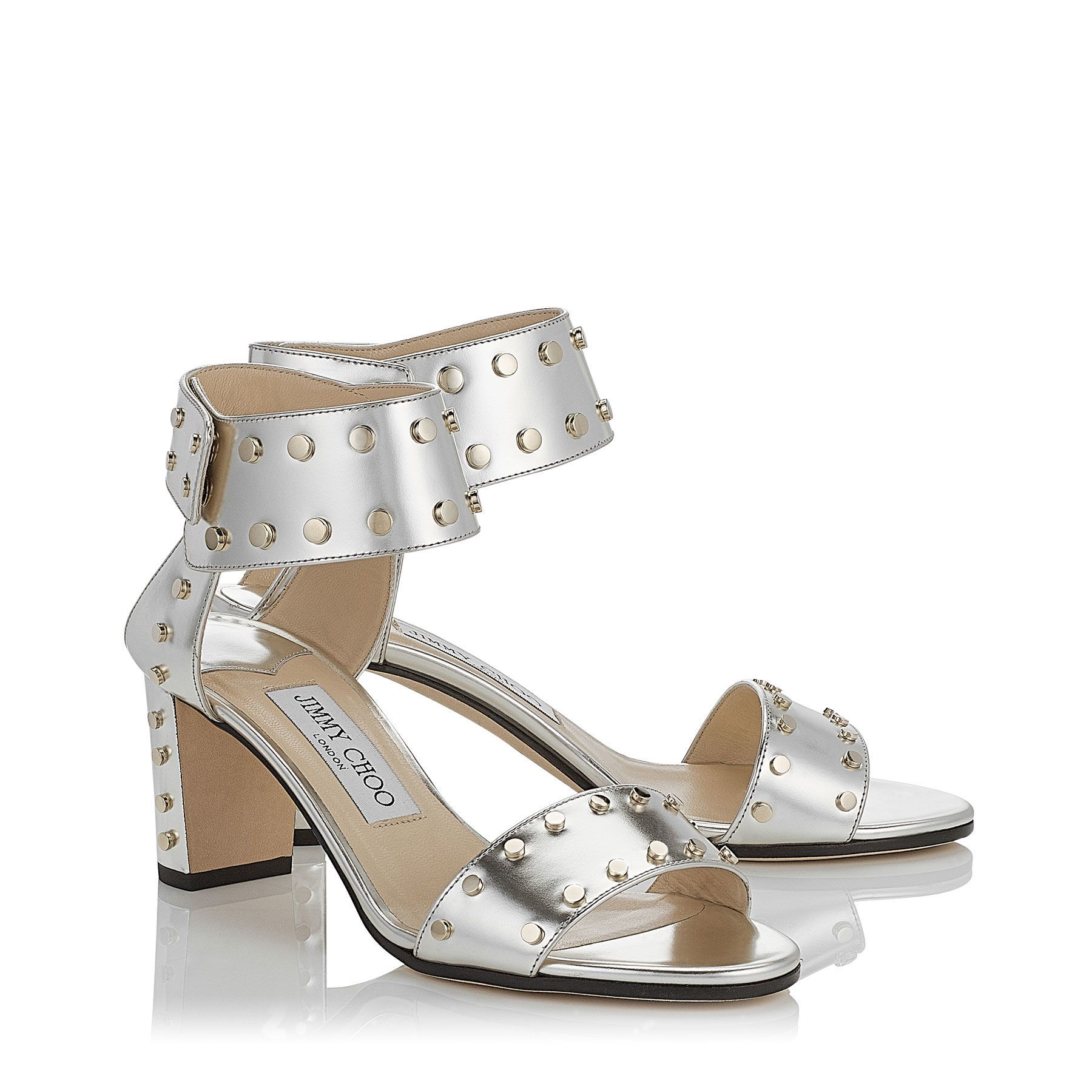 Veto 65 Sandals in Silver Mirror Leather with Gold Studs. Discover our Pre  Fall 16 Collection and shop the latest trends today.