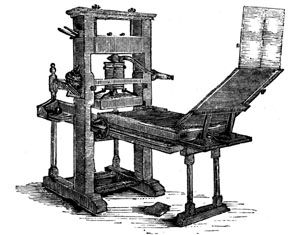 This image demonstrates the printing press they used during the Renaissance built by Johann Gutenburg. The reason they created this was for their first completed edition of the Bible. It also brought many immense changes. Books were cheaper and easier to make then hand written copies.