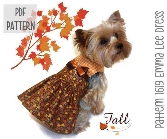 Thanksgiving Dog Dress SEWING PATTERN * 1619 Emma Lee Dog Dress ...