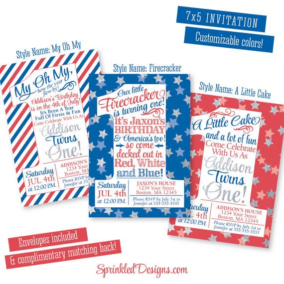 4th of July Birthday Invitations - Little Firecracker First Birthday