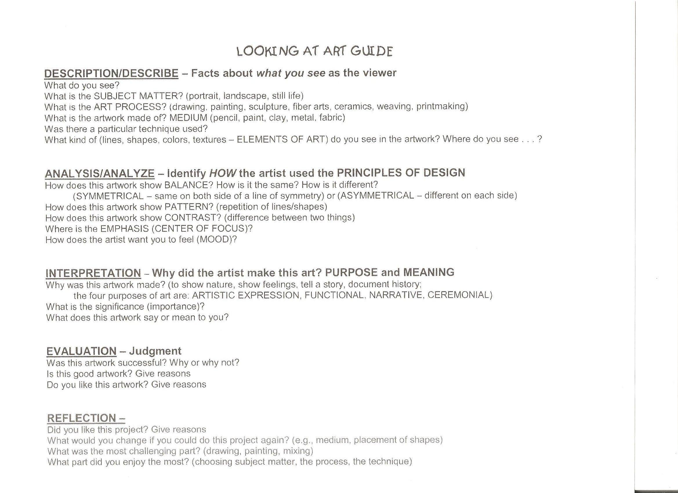 worksheet Art Critique Worksheet the smartteacher resource student lead art critique 7th grade critique