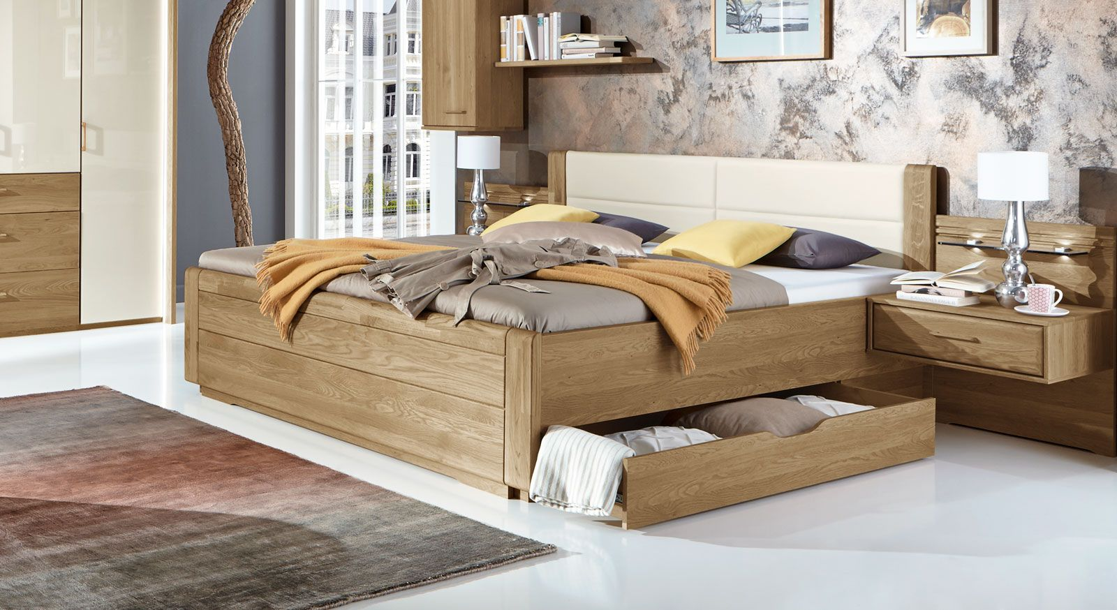 Bett Platzsparend schubkasten doppelbett toride in komforthöhe mit zwei schubladen