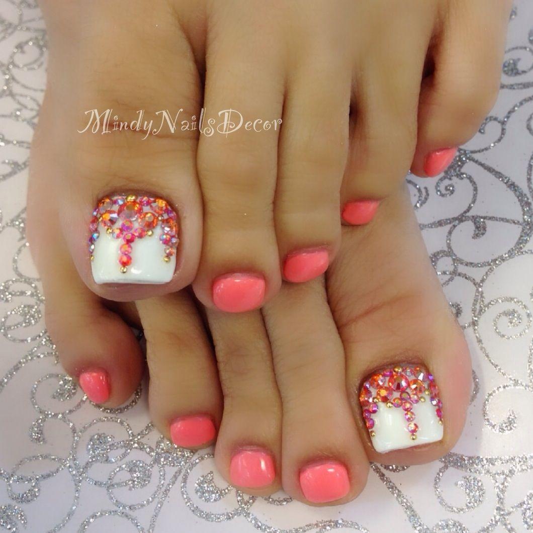 Coral pedicure   Nails art   Pinterest